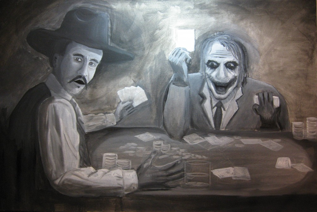Early Grisaille Painting of Joker and Doc Holliday Playing Poker