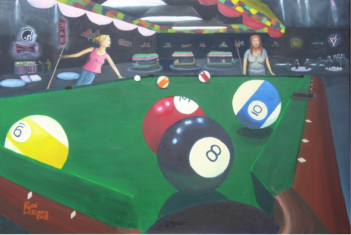 "The Taming of the Cue (2012) - Here we find two ladies are engaged in a heated game of 8-ball and one girl is clearly dominating the other. If you look at the configuration of the solids and stripes on the table you see a tough placement for the 3-ball. The 8-ball is close to the pocket while the 3-ball is hugging it. That's a big problem because when you go for that 3-ball you are risking knocking in that 8-ball and losing the game. Ah so that's why the girl on the right looks unhappy - she isn't losing she's winning! She's winning but she's stuck, ahem, ""behind the 8-ball"", because she can't really go after that 3-ball."