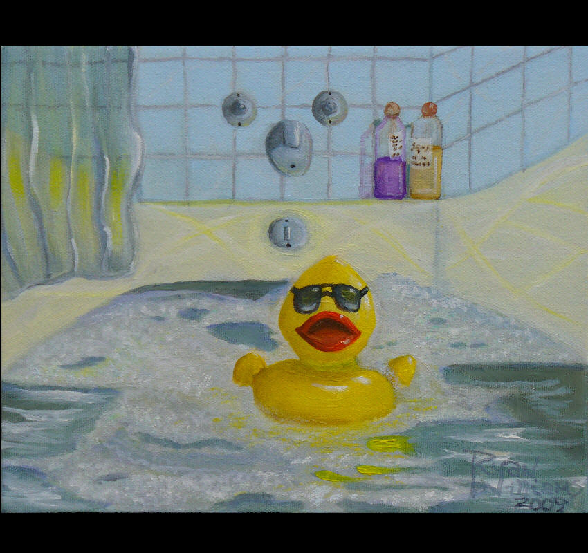 Rubber Ducky (2009) - On a Sunday afternoon, a little rubber duck plays in the tub and cleans his little bottom. I wanted to do a small painting to hang near our bathroom. I just wanted to set the mood that bath time is fun time.